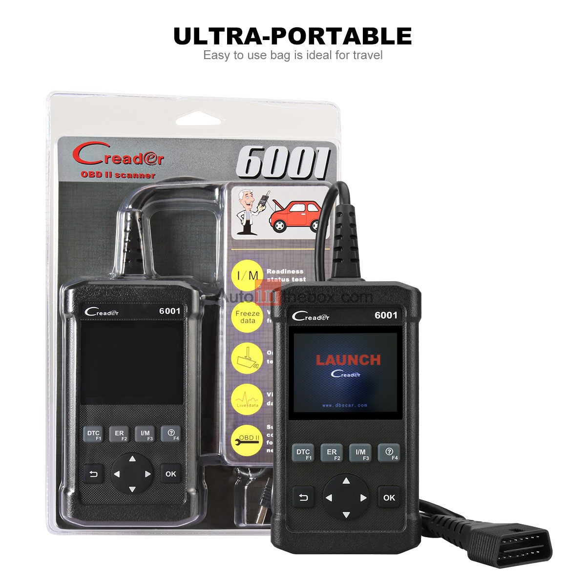 Launch CReader 6001 OBD2 Scanner Scan Tool Full OBDII/EOBD Diagnostic Functions with O2 Sensor Test and On-board Monitor Test