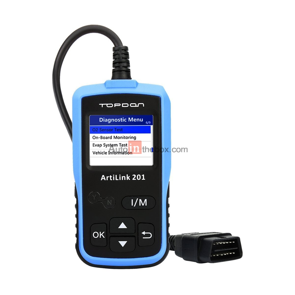 TOPDON ArtiLink201 Auto Diagnostic Tool Inspect I/M Readiness Status  Vehicles Engine Emissions Read/Clear Trouble Codes Turn off MIL and Test O2