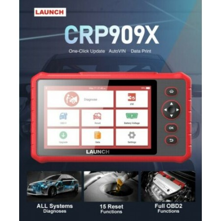 LAUNCH CRP909X OBD2 Car Scanner Full Systems Diagnostic Tool 15 Reset Functions One-click Update with Keypad/Touchscreen Operation - Workshops and DIYers Option
