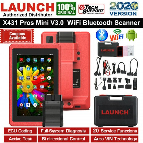 Launch X431 Pros Mini / Pro Mini - Advanced Universal X-431 Automotive Diagnostic Tool OBD2 Scanner Code Reader with Wifi and Bluetooth Connectivity + 2 Year of Free Updates