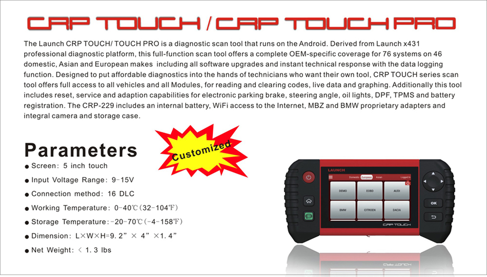 $395.00 2018 New LAUNCH CRP TOUCH PRO Bluetooth / Wifi Scanner Full ...