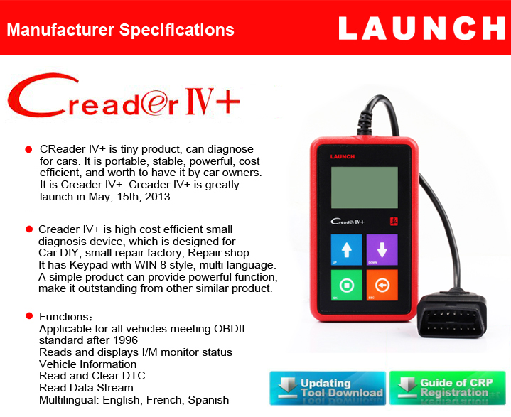 buy launch x431 creader iv car universal obdii. Black Bedroom Furniture Sets. Home Design Ideas