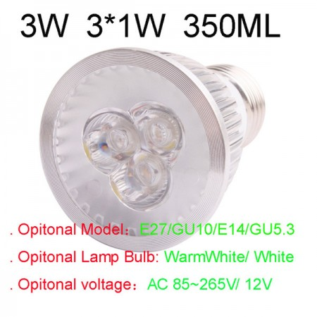Buy 350LM 3W E27 GU10 E14 GU5.3 LED Light Lamp Bulb AC85-265V 110V 220V Cool Warm White